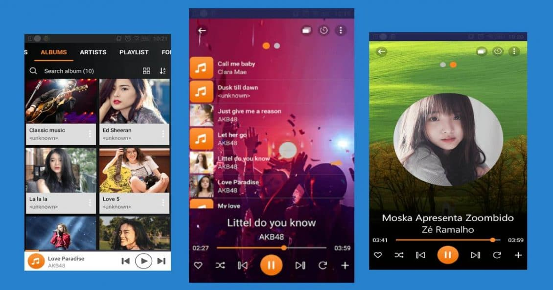 Trình phát nhạc và hiển thị playlist của ứng dụng