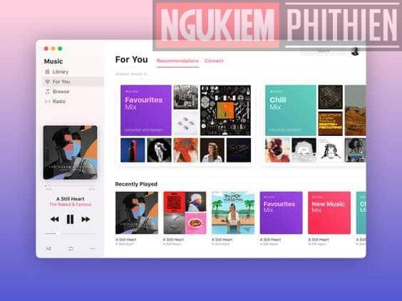 Giao diện nghe nhạc của Apple Music
