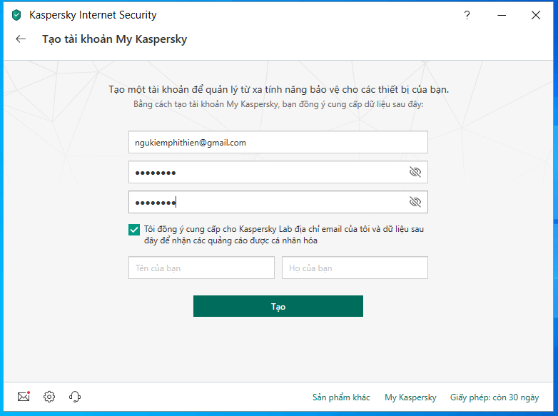 cài đặt và kích hoạt kaspersky internet antivirus hình 8