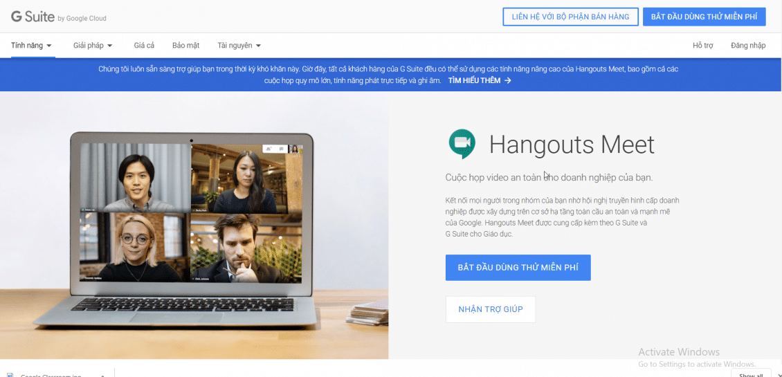 Phần mềm họp trực tuyến Google Hangout