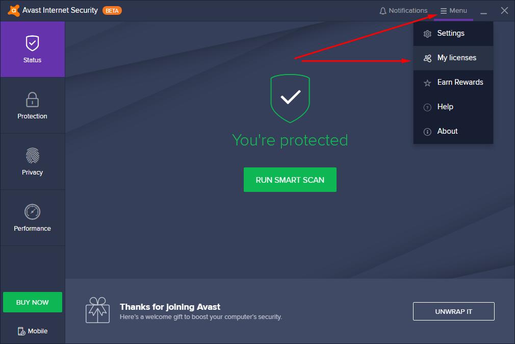 kích hoạt avast internet security