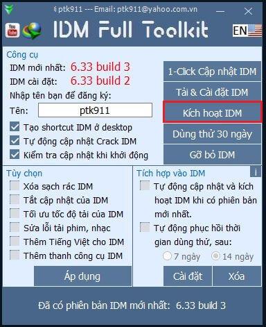 kích hoạt idm toolkit