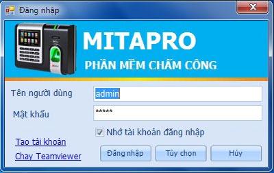 Giao diện đăng nhập của phần mềm MitaPro