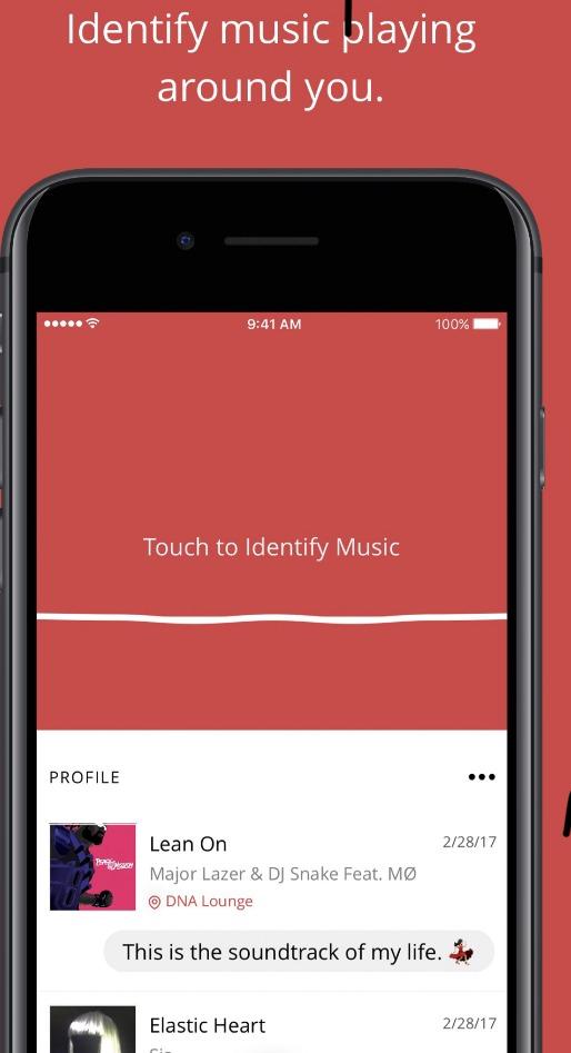 Giao diện ứng dụng nghe nhạc đoán tên bài hát TrackID