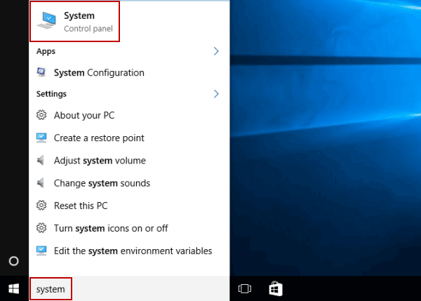 mở system win 10