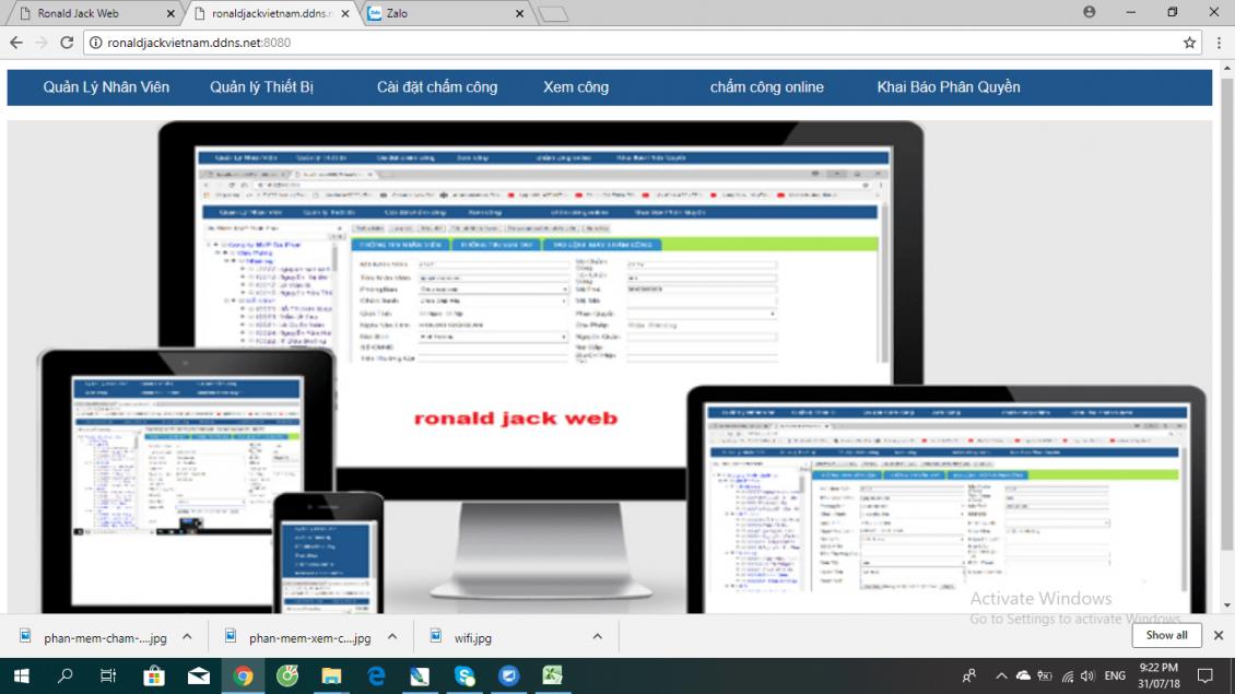 Phần mềm chấm công Ronald Jack