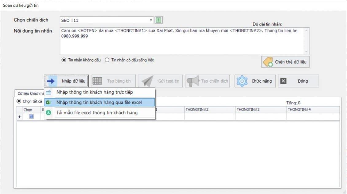 Tính năng gửi tin nhắn của phần mềm SMS