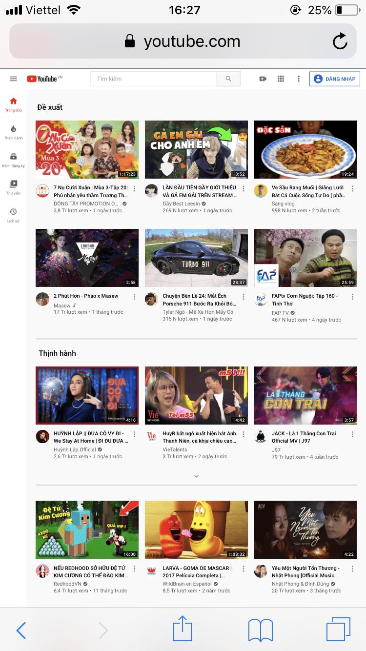 Hình 3. Giao diện youtube mới sau khi chuyển chế độ
