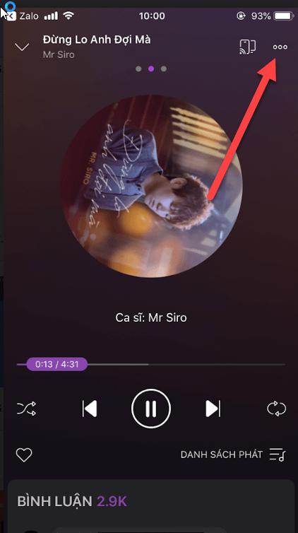 Giao diện phát nhạc ZingMp3