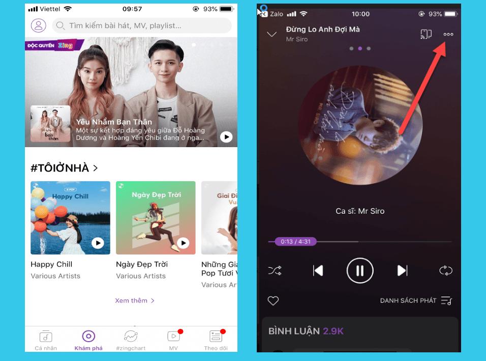 Giao diện ứng dụng nghe nhạc ZingMp3